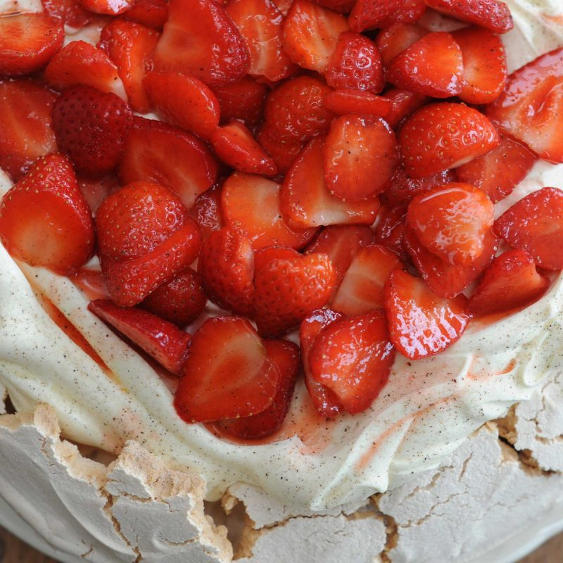Strawberry pavlova vanilla meringue